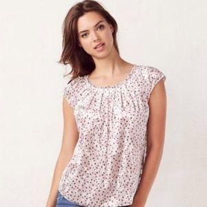 NWT LC Lauren Conrad short sleeve roses top size L